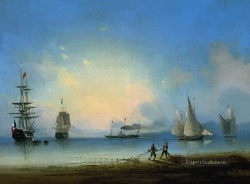 Seascape Painting - Ivan Aivazovsky russian and french frigates Seascape