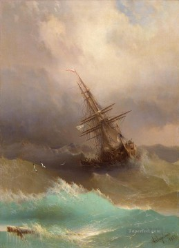 Artworks in 150 Subjects Painting - Ivan Aivazovsky ship in the stormy sea Seascape