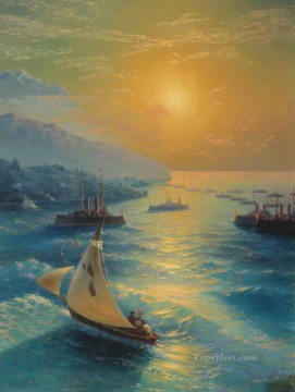 Seascape Painting - Ivan Aivazovsky ships at the feodosiya raid Seascape