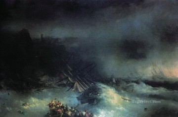 Seascape Painting - Ivan Aivazovsky tempest shipwreck of the foreign ship Seascape