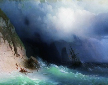 1870 Canvas - Ivan Aivazovsky the shipwreck near rocks 1870 Seascape