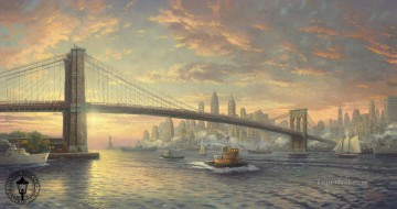 Seascape Painting - The Spirit of New York Thomas Kinkade seascape