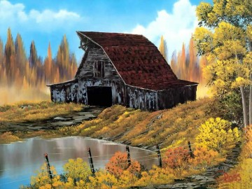 rustic barn Bob Ross freehand landscapes Oil Paintings