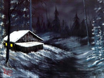 Hand Canvas - winter night Bob Ross freehand landscapes