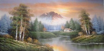 Cheap Vivid Freehand 01 Bob Ross Landscape Oil Paintings