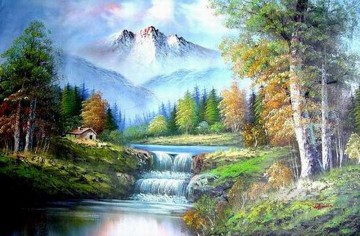 Cheap Vivid Freehand 10 Bob Ross Landscape Oil Paintings
