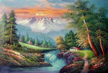 Cheap Vivid Freehand 15 Bob Ross Landscape Oil Paintings