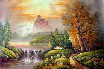 Cheap Vivid Freehand 17 Bob Ross Landscape Oil Paintings