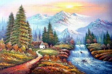 Cheap Vivid Freehand 19 Bob Ross Landscape Oil Paintings