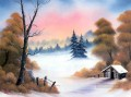 Autumn Trees after First Snow Bob Ross Landscape