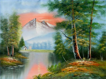 Scenic Mountain Afterglow Bob Ross freehand landscapes Oil Paintings