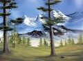 Trees under Snow Mountains Bob Ross Landscape