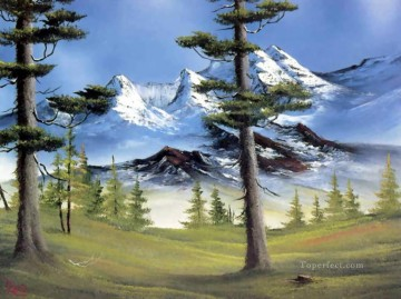 Trees under Snow Mountains Bob Ross Landscape Oil Paintings