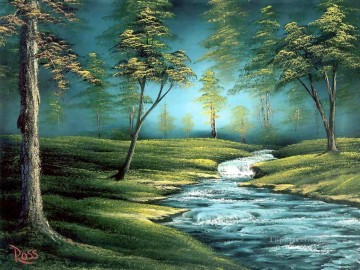 Hand Canvas - bubbling brook Bob Ross freehand landscapes