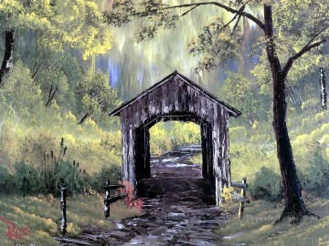 Hand Canvas - covered bridge Bob Ross freehand landscapes