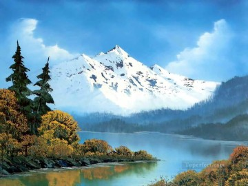 freehand Canvas - peaceful waters Bob Ross freehand landscapes