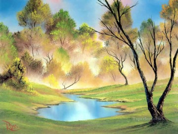Free Painting - quiet pond Bob Ross freehand landscapes