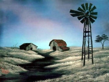 the windmill Bob Ross freehand landscapes Oil Paintings