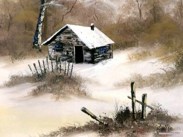 freehand Canvas - winter cabin Bob Ross freehand landscapes