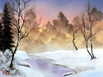 freehand Canvas - winter stillness Bob Ross freehand landscapes