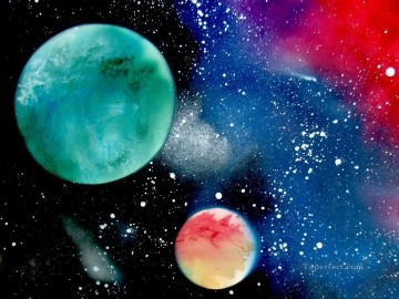 Spray paint art Painting - Space Scene