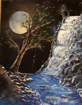 blue waterfalls sprying Oil Paintings