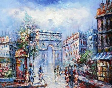 sy004hc street scene cheap Oil Paintings