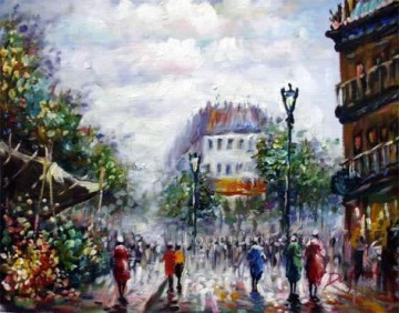 sy007hc street scene cheap Oil Paintings
