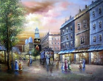 sy021hc street scene cheap Oil Paintings