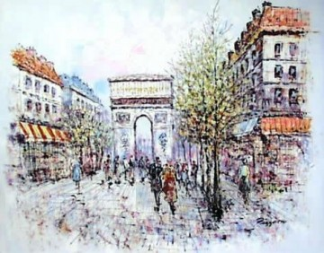 sy026hc street scene cheap Oil Paintings