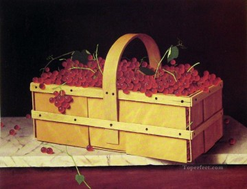 Still life Painting - A Wooden Basket of Catawba Grapes William Harnett still life