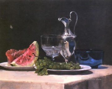 Classic Still Life Painting - Still life study of silver glass and fruit painter John LaFarge