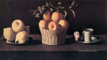 Still life Painting - Still life with Lemons Oranges and Rose Francisco Zurbaron