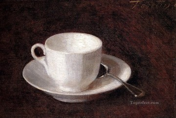 White Art - White Cup And Saucer Henri Fantin Latour still life