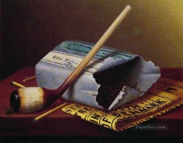 Still life Painting - A Smoke Backstage William Harnett still life