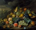 A Still Life of Pears Peaches and Grapes by Charles Collins