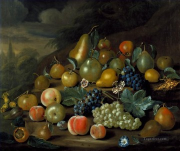 A Still Life of Pears Peaches and Grapes by Charles Collins Oil Paintings
