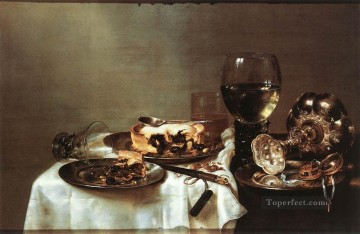 Still life Painting - Breakfast Table With Blackberry Pie still lifes Willem Claeszoon Heda
