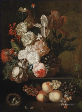 Classic Still Life Painting - Roses tulips violets and other flowers in a wicker basket on a stone ledge with grapes peaches and a nest with eggs Jan van Huysum
