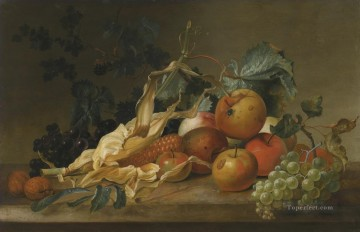 Still life Painting - STILL LIFE OF BLACKBERRIES GRAPES APPLES SWEETCORN AND TWO WALNUTS Jan van Huysum