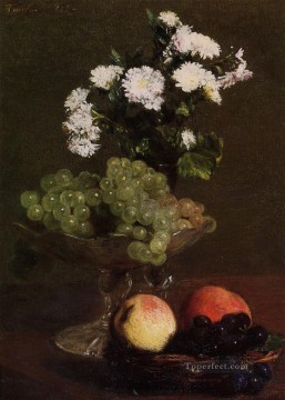 life - Still Life Chrysanthemums and Grapes flower painter Henri Fantin Latour