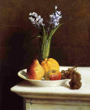 Fruit Painting - Still Life Hyacinths and Fruits flower painter Henri Fantin Latour