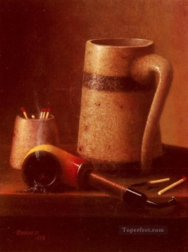Classic Still Life Painting - Still Life Pipe And Mug William Harnett