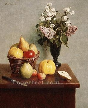Still life Painting - Still Life with Flowers and Fruit 1866 Henri Fantin Latour