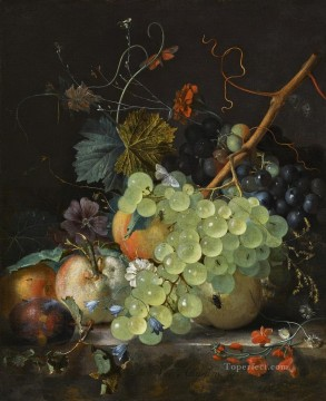 Classic Still Life Painting - Still Life with Flowers and Fruit Jan van Huysum