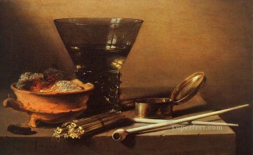 Classic Still Life Painting - Still Life with Wine and Smoking Implements Pieter Claesz