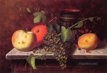 Still life Painting - Still life with Fruit and vase William Harnett