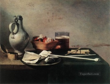 Still life Painting - Tobacco Pipes and a Brazier still life Pieter Claesz