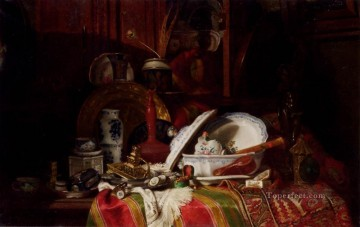 Trinquier Antoine Guillaume Still Life With Dishes A Vase A Candlestick And Other Objects Gustave Jean Jacquet Oil Paintings