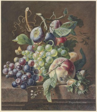 Still life Painting - still life of peaches and grapes Blumenbouquet dabei ein toter Vogel Jan van Huysum